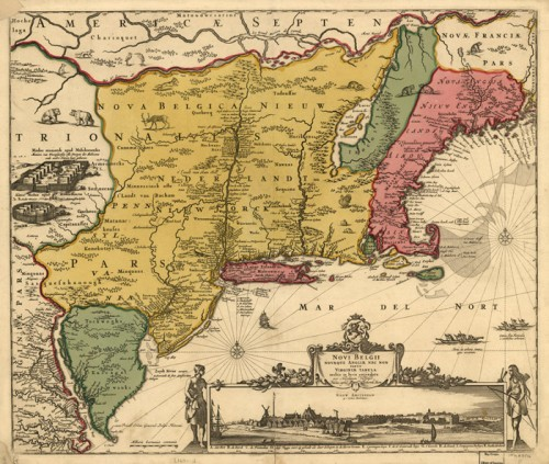 Novi Belgii Novaeque Angliae… (Map of the New Belgium or New Netherland), 1685, by Nicolaes Visscher
