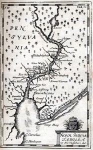 Novae Svecia scu Pensylvania in America, map from: Kort abeskrifning om beskrifning om provincien Nya Swerige uit America…(A short description of the province of New Sweden), 1702, by Thomas Campanius Holm