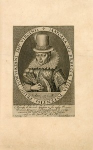 Portrait of Matoaka (Pocahontas), 1616, from The generall historie of Virginia, New England, and the Summer Isles, by John Smith