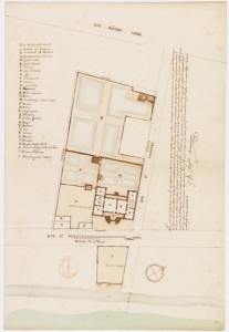 Plan of the Hotel of Marquis de Vaudreuil Governor of the New France, Montreal (Quebec), 1726-1727, by Chaussegros de Lery, Jean-Baptiste Angers, Rene Decouagne