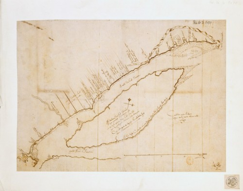 Map from Quebec to cap de Tourmente, 1641, by Jean Bourdon