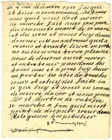 Work contract of Joseph St-Yves