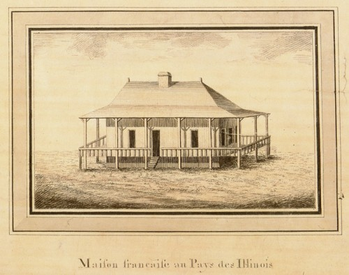 French house in Illinois country, detail from the Carte générale du cours de la rivière de l'Ohio…, ca. 1796, Victor Collot