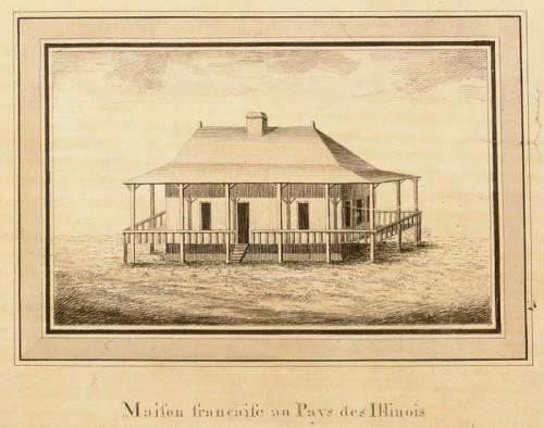 French house in Illinois country, detail from the Carte générale du cours de la rivière de l'Ohio…, ca. 1796, Victor Collot