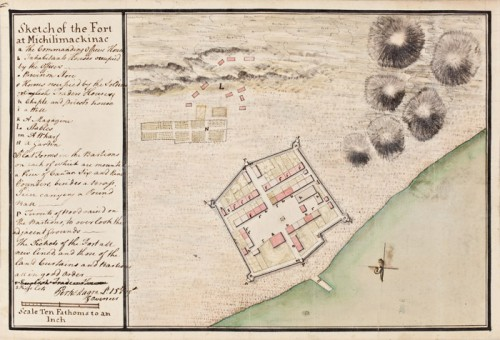 Sketch of the Fort at Michilimackinac by Magra Perkins, 1765