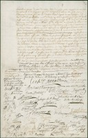 Document bearing the signatures of Canadian merchants and businessmen, October 10, 1700