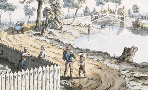 A View of the Bridge over the Berthier River (detail), 1785, by James Peachey