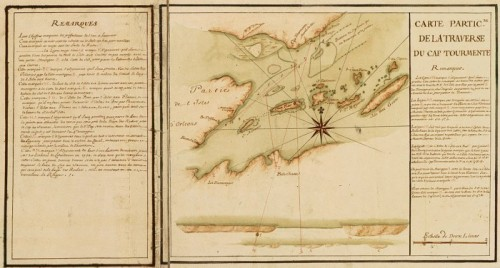 Particular Map of traverse of Cap Tourmente (detail), 1733, by J.-N. Bellin and H. des Herbiers de Lestanduère