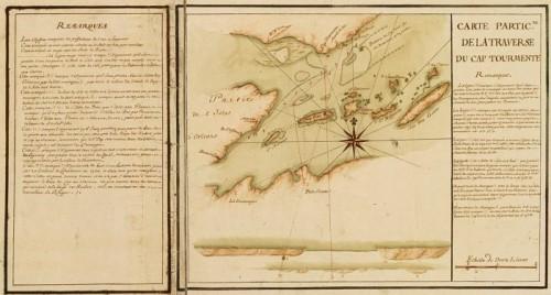 Particular Map of traverse of Cap Tourmente (detail), 1733, by J.-N. Bellin and H. des Herbiers de Lestanduère
