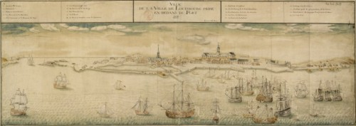 View of the Town of Louisbourg taken from the Port, 1731, by Verrier fils