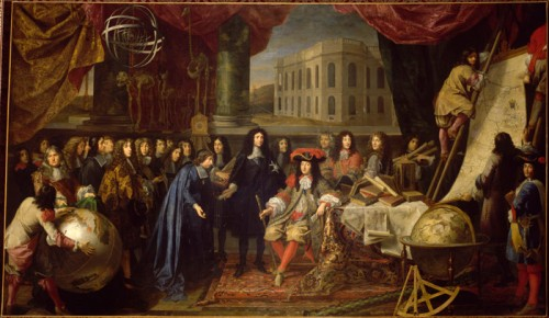 Colbert, Minister of Finance, presents the members of the Royal Academy of Science founded in 1667 to Louis XIV