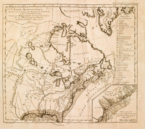 Mineralogical Map where is shown the nature of the Canada and Louisiana Grounds, 1752, by Philippe de Buache et J.-É. Guettard