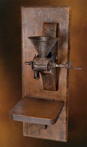 Wrought iron manual crank coffee mill