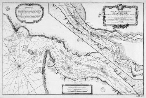 Map of the Gironde Mouth and Course with parts of the Dordogne and the Garonne up to Bordeaux…, 1767, by J.-N. Bellin