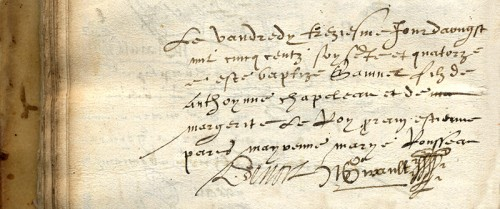 Baptismal certificate of our Samuel de Champlain, detail