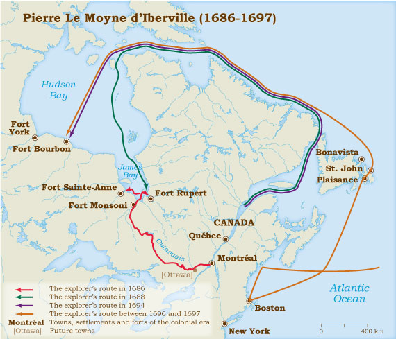 Map Of Canada James Bay.Pierre Le Moyne D Iberville 1686 1702 Virtual Museum Of New France