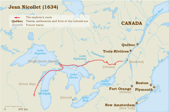 Map Of Canada 5 Great Lakes.Jean Nicollet 1634 Virtual Museum Of New France