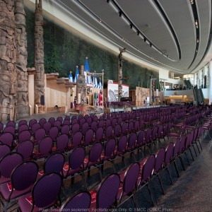 View of the Grand Hall with stage set up & chairs