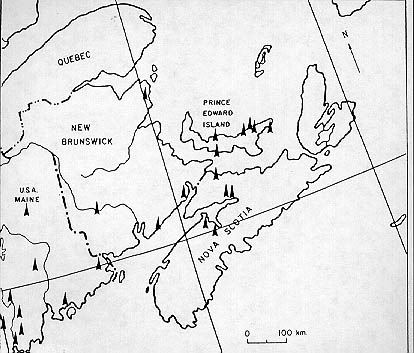 Map showing sites of first campsites in Atlantic Canada.