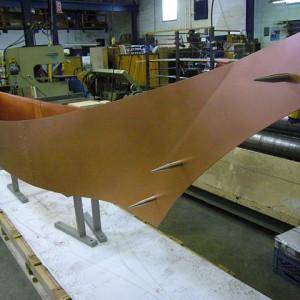 Canoe at Soheil Mosun facility, awaiting shipping