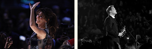 Left: Shania Twain – Photo: CARAS/iPhoto Inc. - Right: Michael Bublé – Photo: barryroden.com