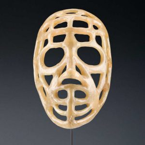 """Jacques Plante's """"pretzel"""" mask"""