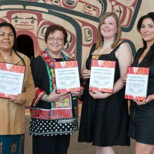 Dorothy Stewart (Cree), Teresa Marshall (Mi'Kmaq), Lindsey Moorhouse (Inuk) and Leslie LeBourdais (Secwépemc)