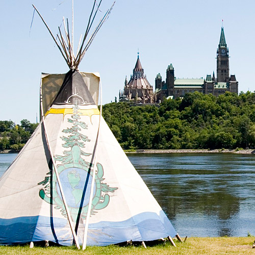 Tipi with Parliament Buildings, Ottawa