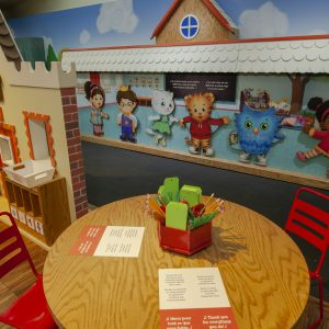 Drawing table in the Daniel Tiger exhibition space