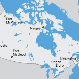 Map showing some Indigenous communities in Canada