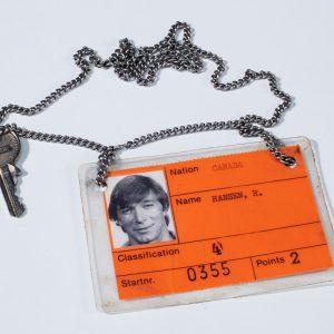 I.D. badge and locker key