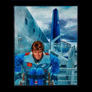 Painting of Rick Hansen in front of a ship in Halifax Harbour
