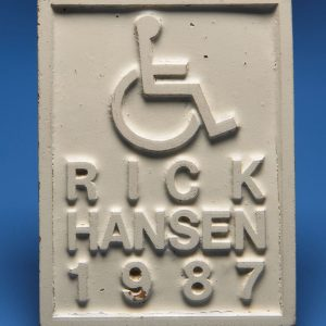 Stamp to mark concrete wheelchair ramps
