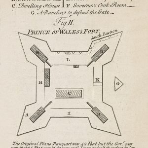 Plan of a fort, with labels marking the inner rooms