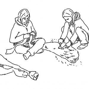 A woman using a stone scraper