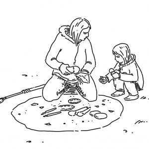 An adult and a child producing stone tools