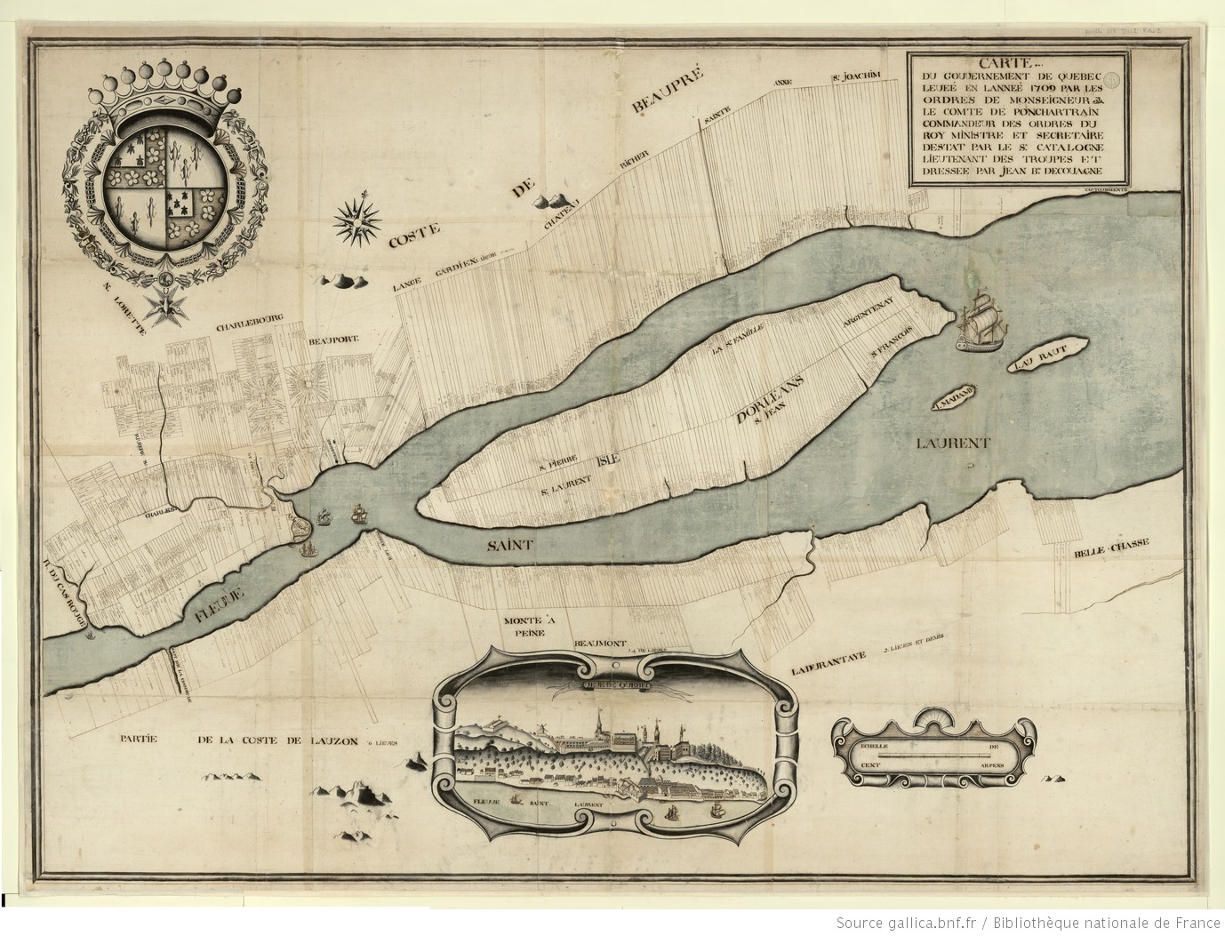 Une ancienne carte de la ville de Québec. De longues lignes parallèles indiquent les propriétés.