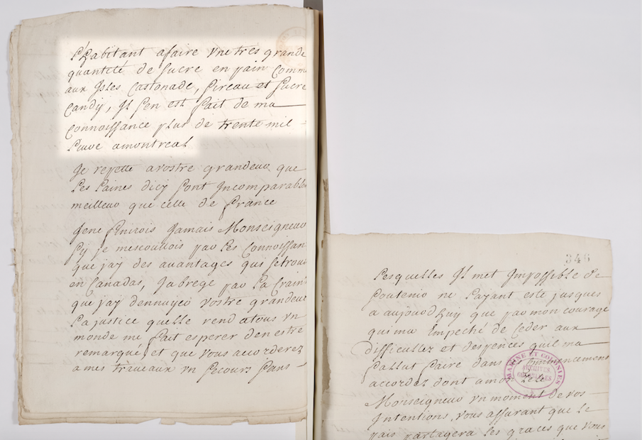 Old document with hand-written French text. Important parts are highlighted.
