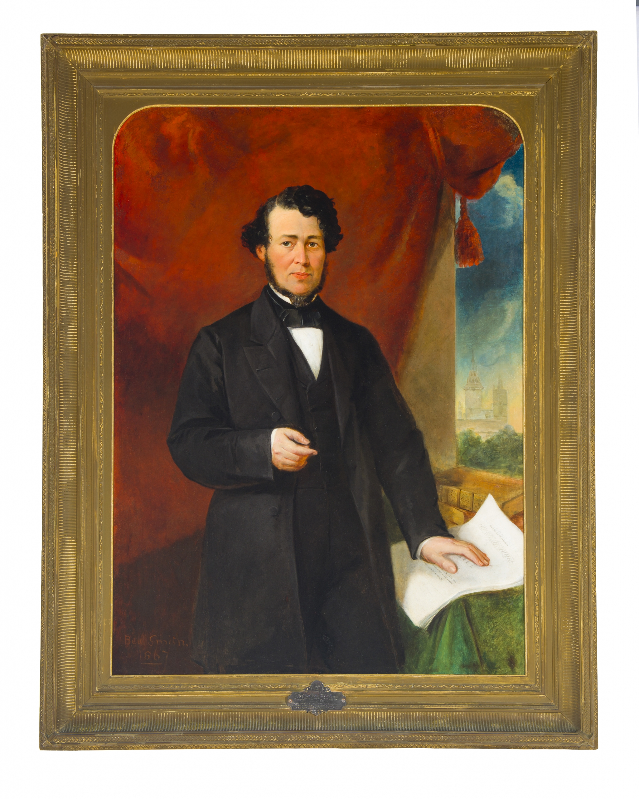 Painted portrait of a man with dark hair wearing a suit.