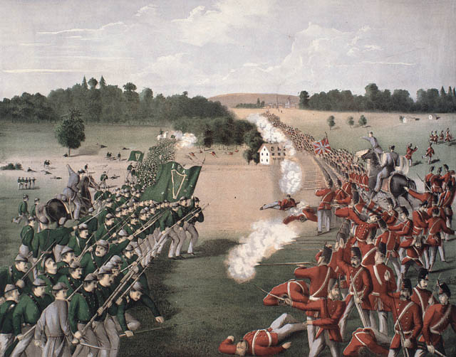 A painting depicting a 19th century battle soldiers on opposing sides are wearing green and red respectively.
