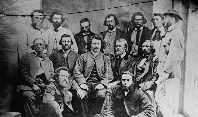 a black and white photograph of the provisional government of the Métis Nation