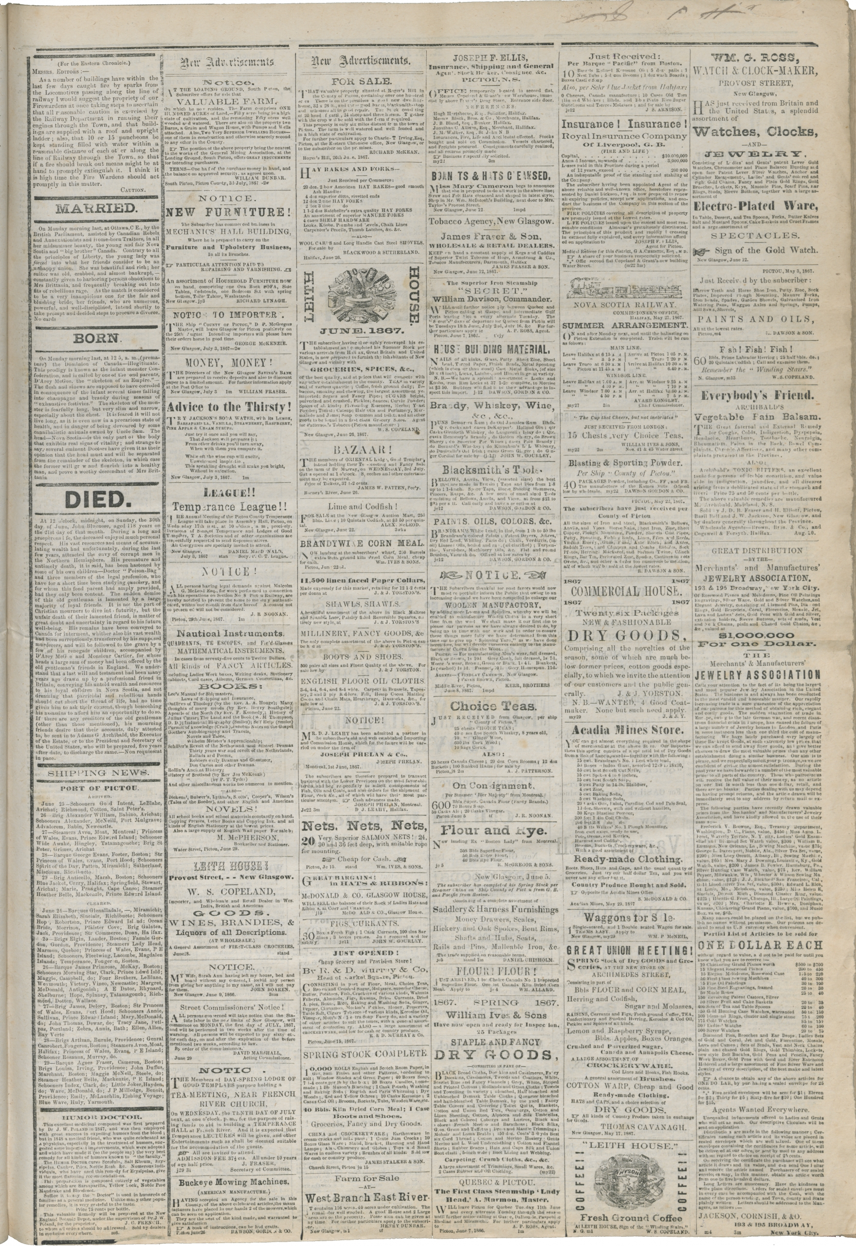 a page of a newspaper from 1867.