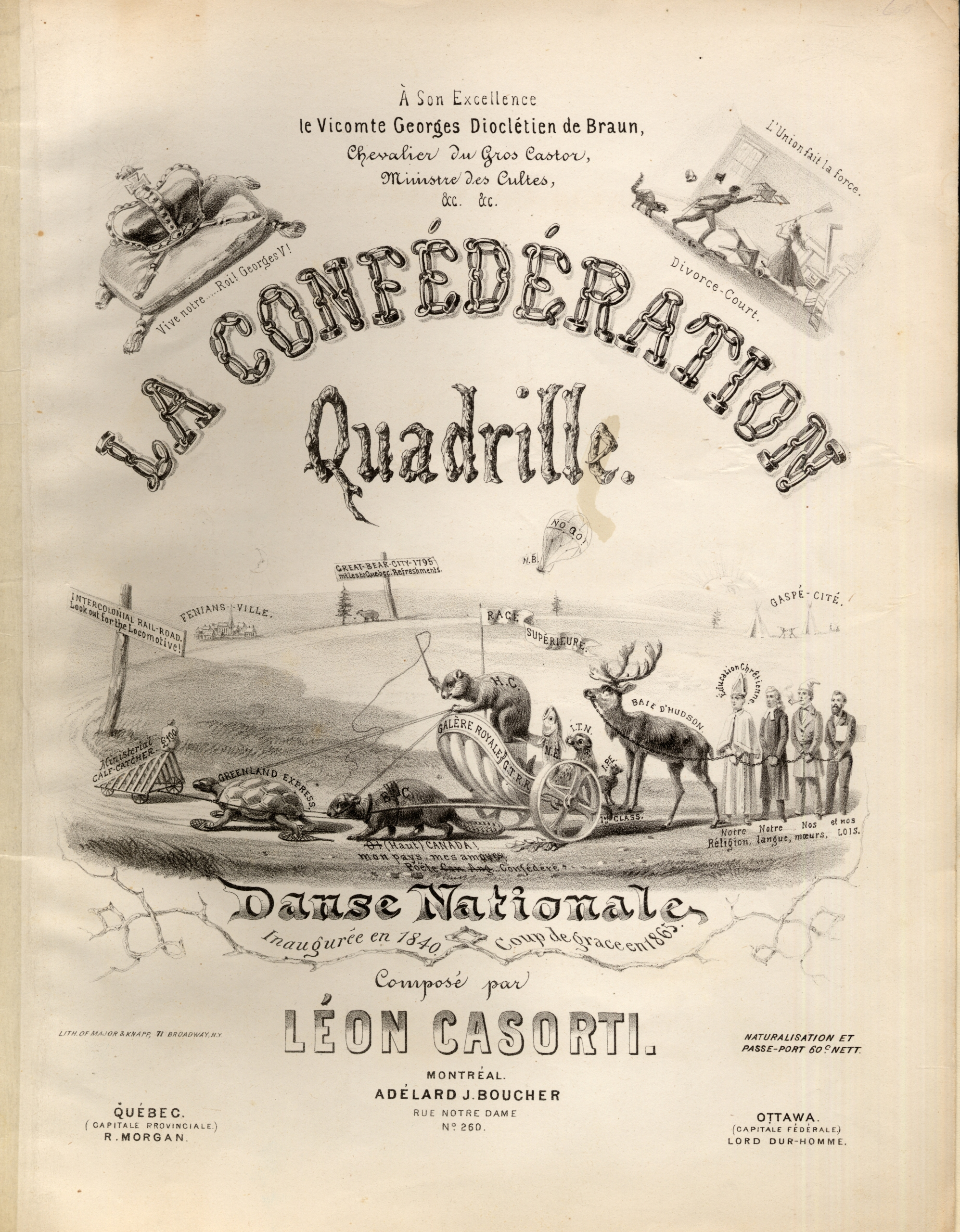 Illustrated cover of sheet music titled La Confédération Quadrille