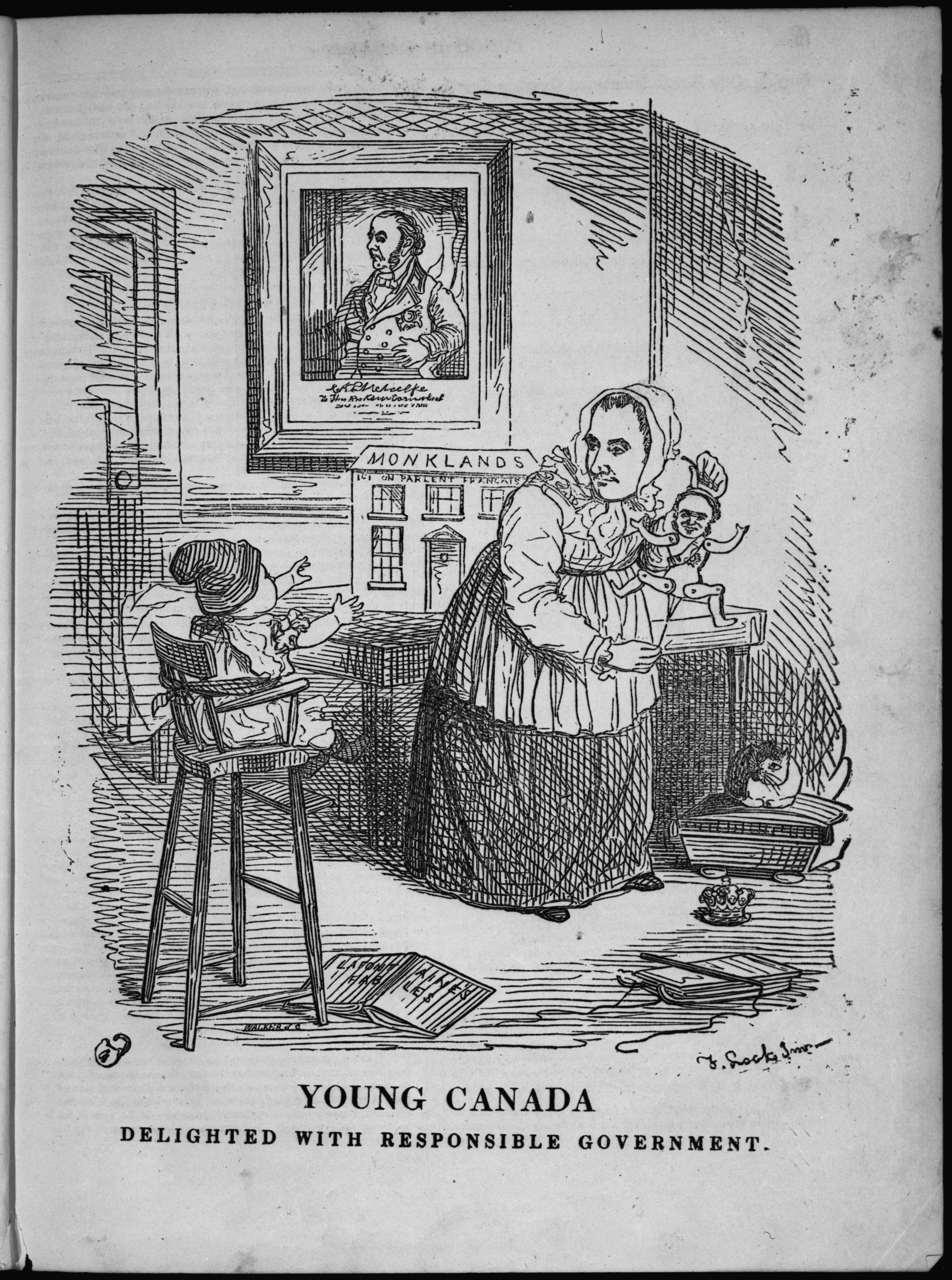 A political cartoon; baby looks at nanny who plays with marionette.